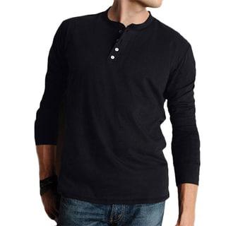 Canvas Men's Cotton Long-sleeved Henley Shirt