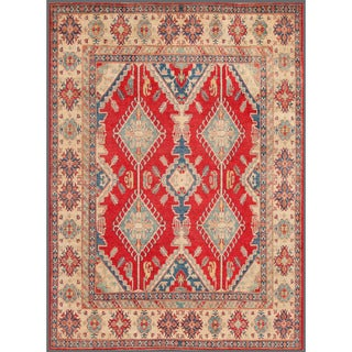 Herat Oriental Afghan Hand-knotted Kazak Red/ Ivory Wool Rug (8'11 x 11'10)