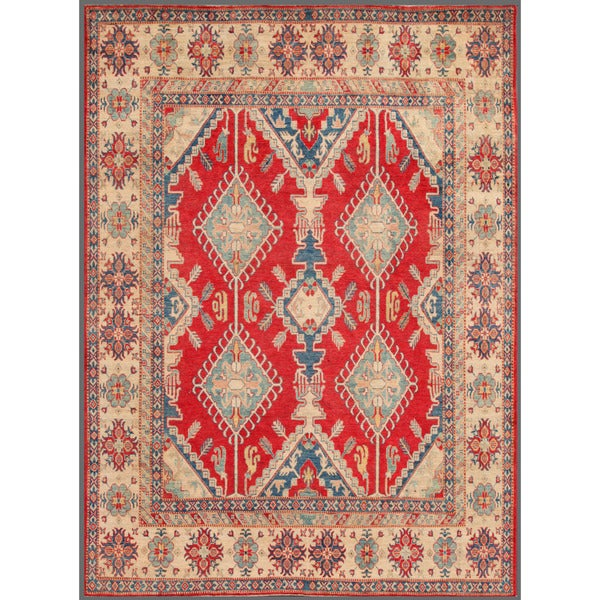 Herat Oriental Afghan Hand-knotted Kazak Wool Rug (8'11 x 11'10)
