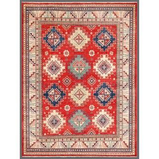 Herat Oriental Afghan Hand-knotted Kazak Red/ Ivory Wool Rug (7'11 x 10'1)