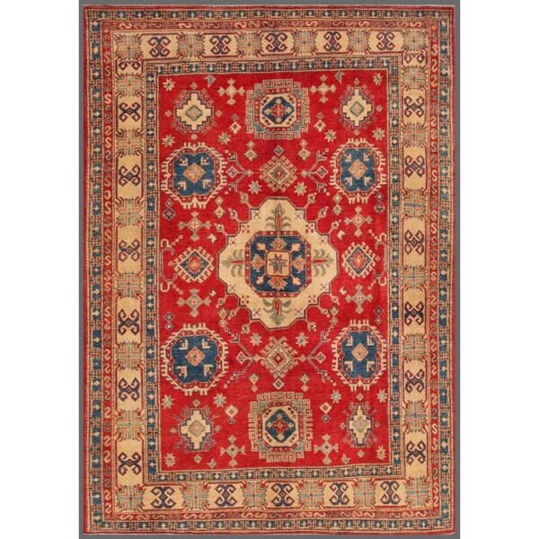 Herat Oriental Afghan Hand-knotted Kazak Red/ Ivory Wool Rug (7'4 x 10'3)