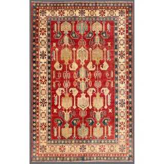 Herat Oriental Afghan Hand-knotted Kazak Red/ Ivory Wool Rug (6'2 x 9'7)