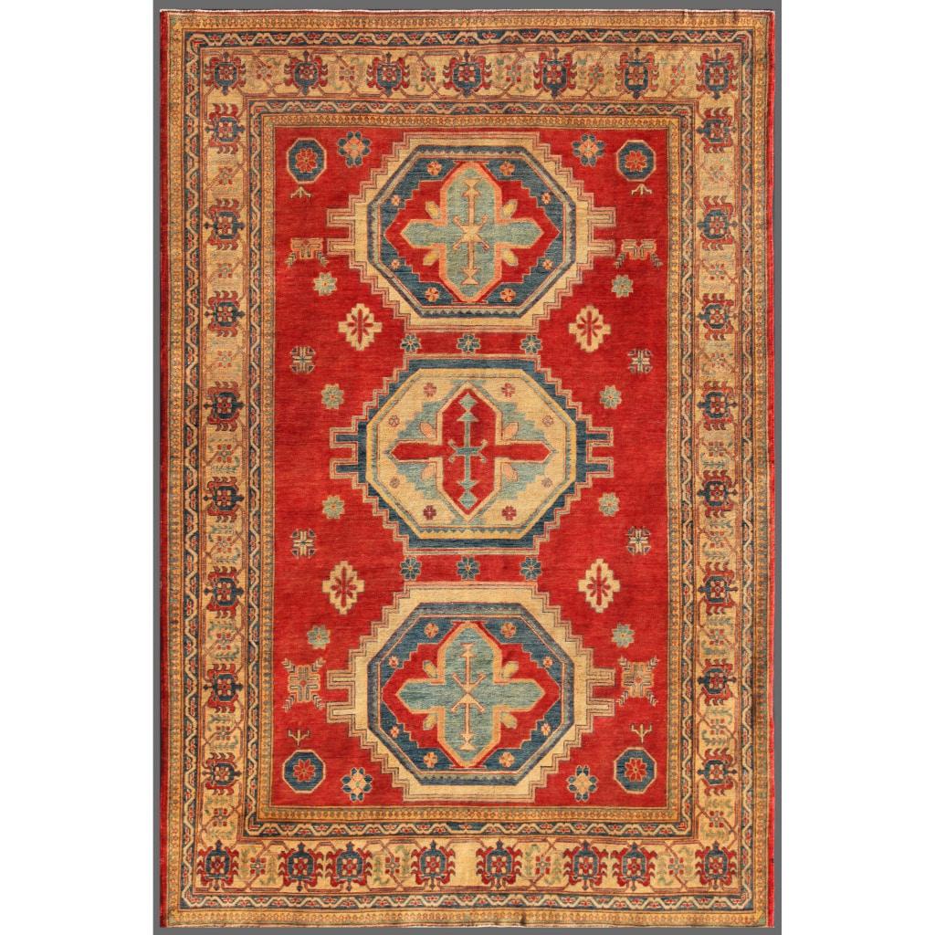Afghan Hand Knotted Kazak Red Beige Wool Geometric Rug 7 4 X 10 8 7 4 X 10 8 Overstock 7650164