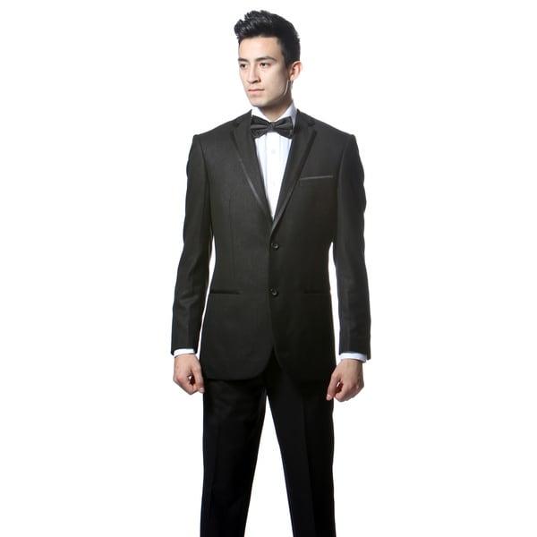 Ferrecci's Men's Slim Fit Black 2-button Tuxedo Suit