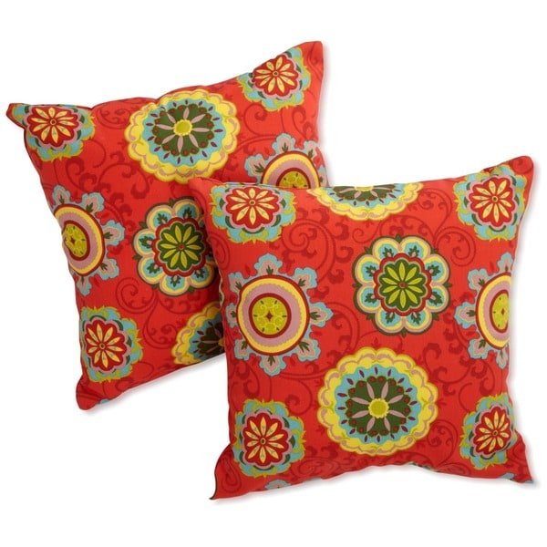 Blazing Needles Floral 18-inch Outdoor Throw Pillow (Set of 2)