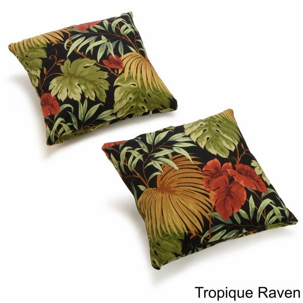 Blazing Needles Floral/ Stripe 18-inch Throw Pillows (Set of 2)