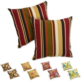 Blazing Needles Spicy Floral/ Stripe 18-inch Throw Pillows (Set of 2)
