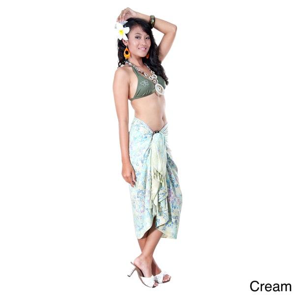 1 World Sarongs Women's Premium Heavyweight Cream Floral Sarong (Indonesia)
