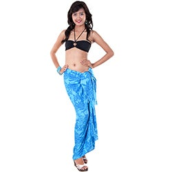 1 World Sarongs Women's Butterfly Blue Floral Sarong (Indonesia)