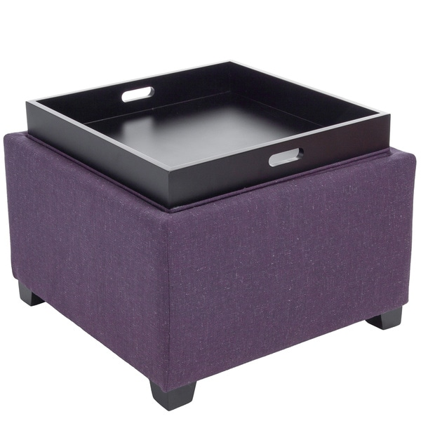 Andrea Purple Fabric Tray Top Storage Ottoman by Christopher Knight Home