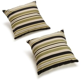 Blazing Needles Floral/ Stripe 18-inch Outdoor Throw Pillows (Set of 2)