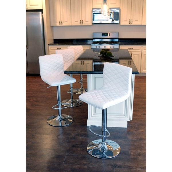 Caviar Adjustable Contemporary Quilted Barstool