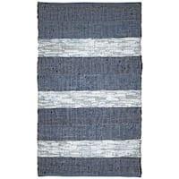 "Hand Woven Matador Blue Stripe Leather Rug (30"" x 50"") - 2'6"" x 4'2"""