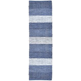 Hand Woven Matador Blue Stripe Leather Rug (2'6 x 12')