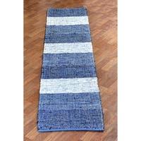 Hand Woven Matador Blue Stripe Leather Rug - 2'6 x 12'
