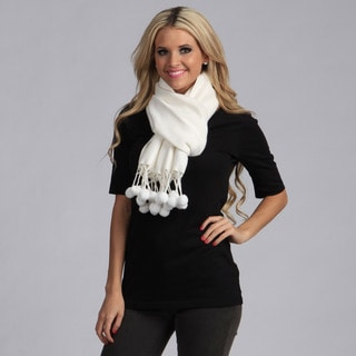 Cashmere Showroom Women's White Rayon from Bamboo Pom-pom Scarf