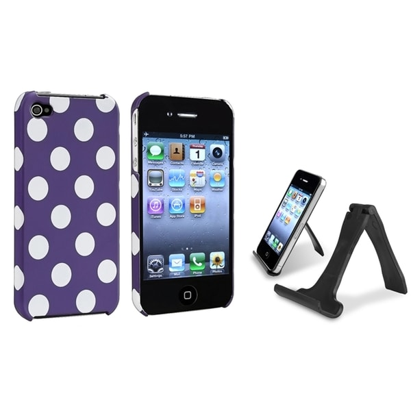 INSTEN Purple/ White Dot Phone Case Cover/ Mini Stand for Apple iPhone 4/ 4S