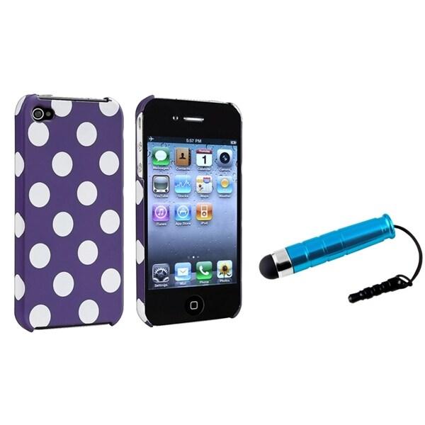 INSTEN Purple/ White Dot Phone Case Cover/ Blue Mini Stylus for Apple iPhone 4/ 4S