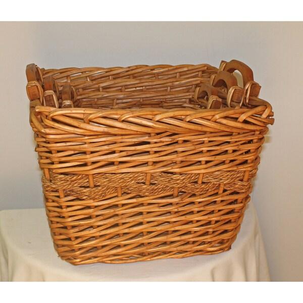 International Caravan Willow with Rope Rect Hamper Baskets (Set of 3)