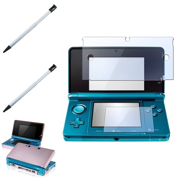 INSTEN Pink Aluminum Case Cover/ Screen Protector/ Stylus for Nintendo 3DS