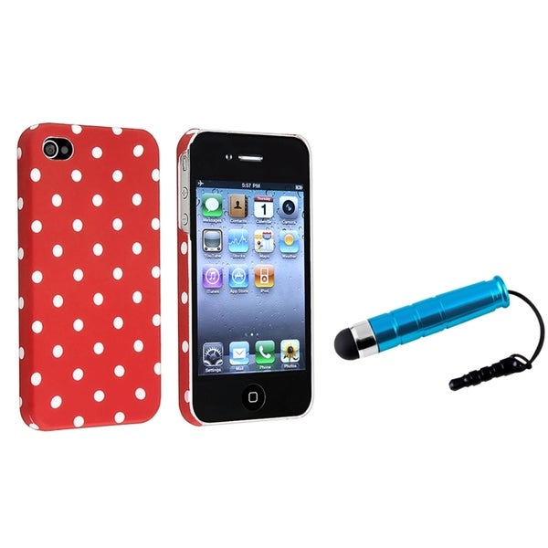 BasAcc Red/ White Dot Case/ Blue Mini Stylus for Apple iPhone 4/ 4S