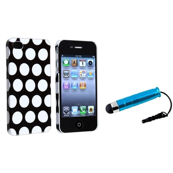 BasAcc Black/ White Dot Rear Case/ Mini Stylus for Apple iPhone 4/ 4S