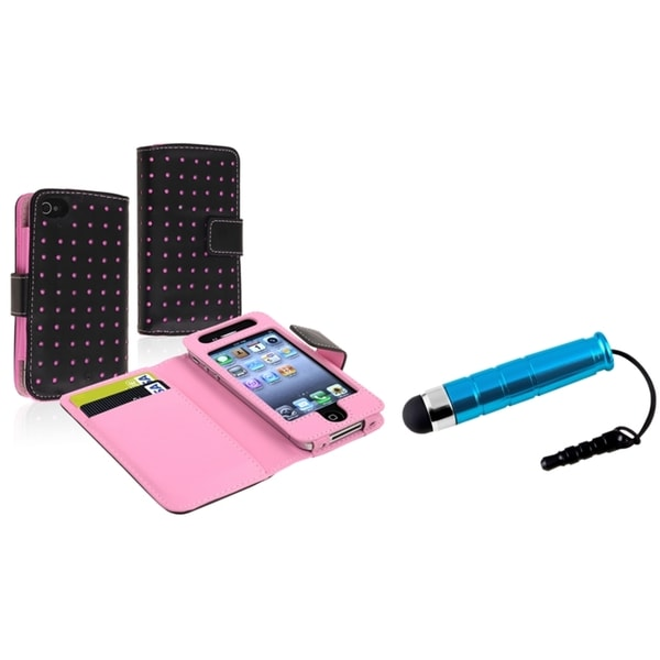 INSTEN Black/ Pink Wallet Phone Case Cover/ Mini Stylus for Apple iPhone 4/ 4S