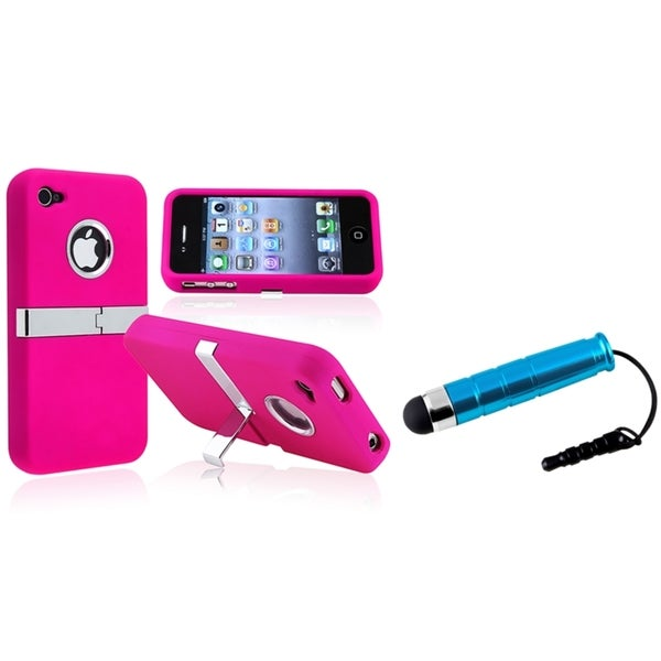 BasAcc Pink/ Chrome Case/ Blue Mini Stylus for Apple iPhone 4/ 4S