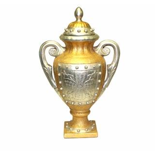 International Caravan Gold/Silver 19-inch Antique Vase