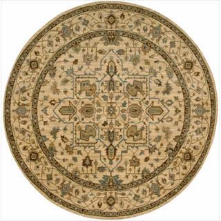 Living Treasures Beige Round Rug (7' 10 x 7' 10)