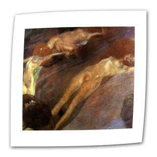 Gustav Klimt 'Moving Water' Flat Canvas - Multi