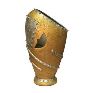 International Caravan Gold / Silver Porcelain 22-inch Tall Oblong Vase