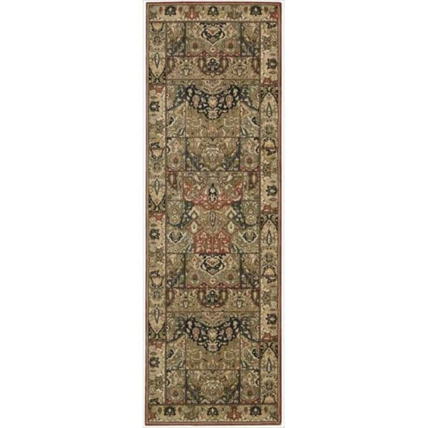 Living Treasures Khaki Wool Runner Rug (2'6 x 12')
