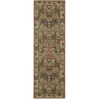 Living Treasures Khaki Wool Runner Rug (2'6 x 8')