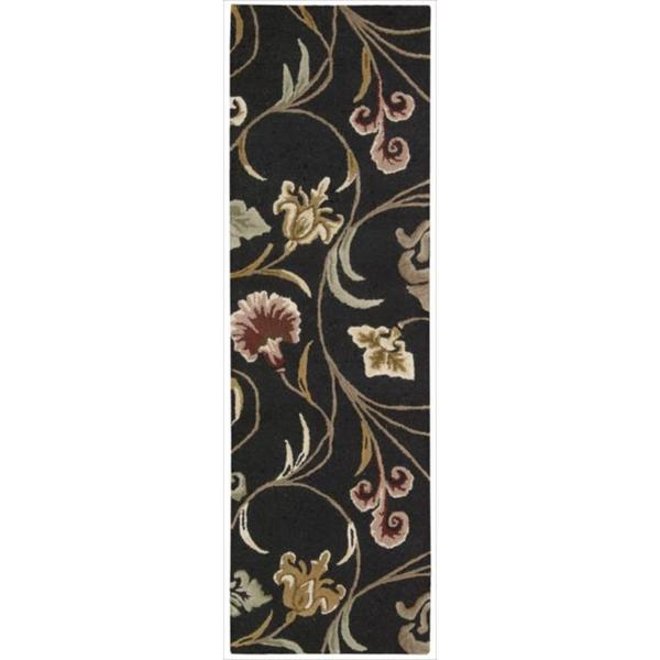 Hand-tufted In Bloom Black Wool Runner Rug (2'3 x 7'6)