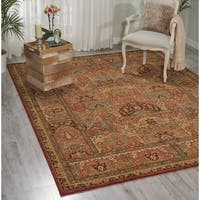 Living Treasures Khaki Wool Rug - 5'6 x 8'3