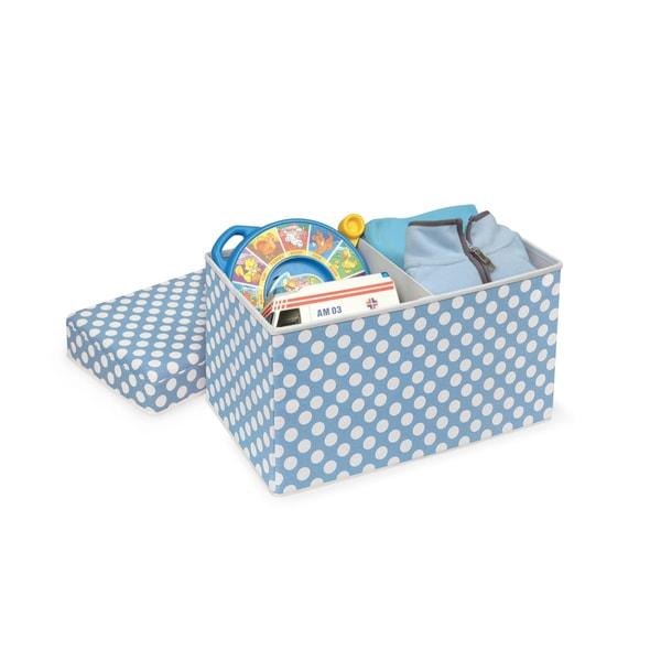 Blue Polka Dot 22602 Folding Storage Badger Basket Double Folding Storage Seat