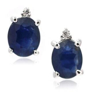 De Buman Sterling Silver Genuine Sapphire and Diamond Stud Earrings