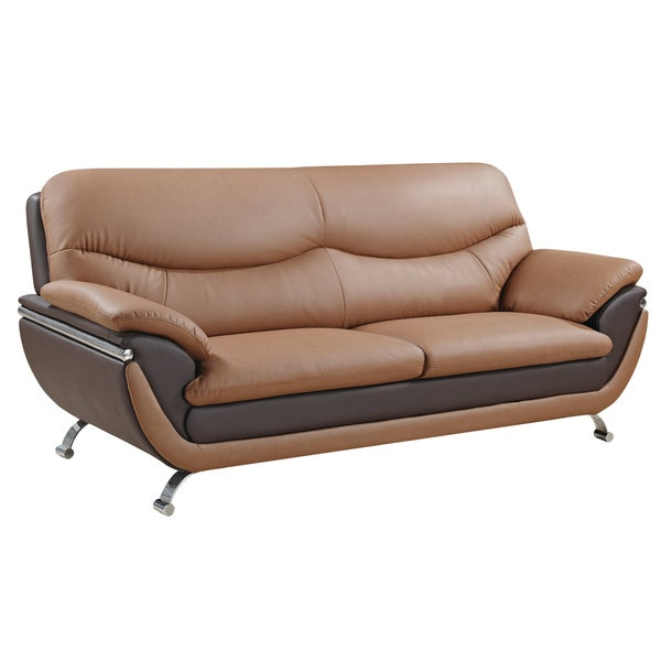 Two-tone Light Brown/ Dark Brown Bonded Leather Sofa