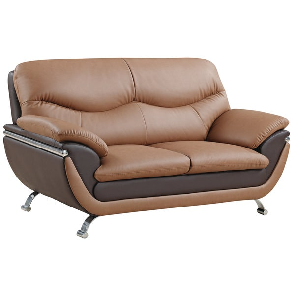 Two-tone Light Brown/ Dark Brown Bonded Leather Loveseat