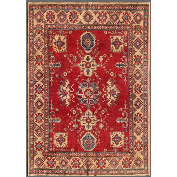 Herat Oriental Afghan Hand-knotted Kazak Red/ Beige Wool Rug (6'7 x 9'1)