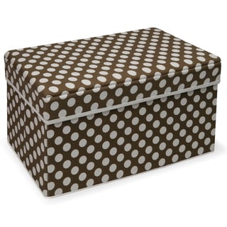 Badger Basket Double Folding Brown Polka Dot Storage Seat