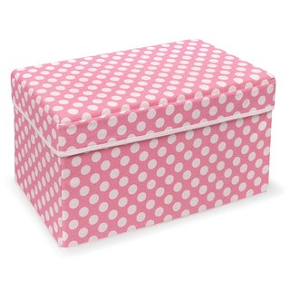 Badger Basket Double Folding Pink Polka Dot Storage Seat