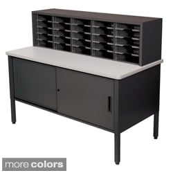 Marvel Adjustable Mail Sorting Station with Lockable Cabinet (25 Cubbies)
