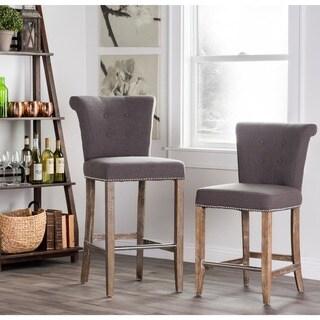 Rafa Grey Upholstered 30 Inch Barstool By Kosas Home