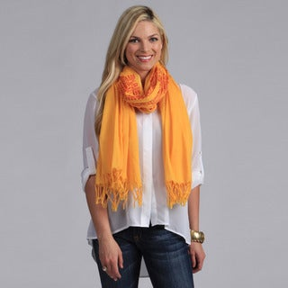 Peach Couture Women's Yellow and Red Hindu Mantra Printed Scarf