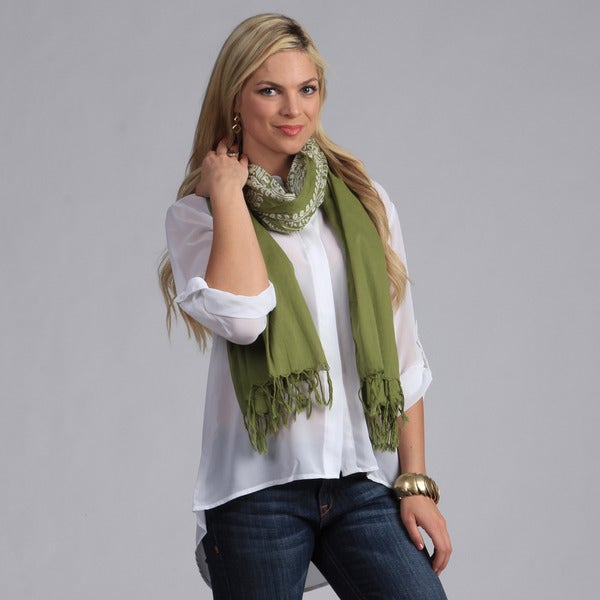 Peach Couture Women's Green and White Hindu Mantra Printed Scarf