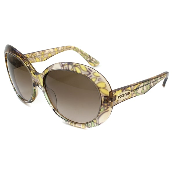 253e1faf8afb8 Shop Emilio Pucci Women s 278 Yellow Floral Round Sunglasses - Free ...