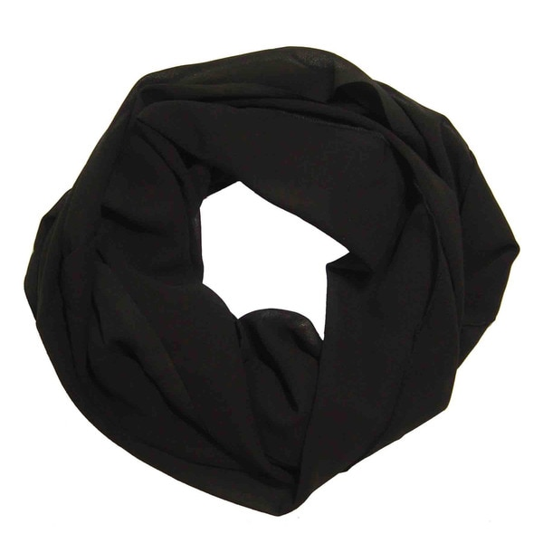 Peach Couture Women's Black Chiffon Infinity Loop Scarf. Opens flyout.