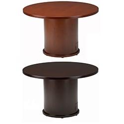 Mayline Mira Series 42-inch Round Veneer Table with Drum Base